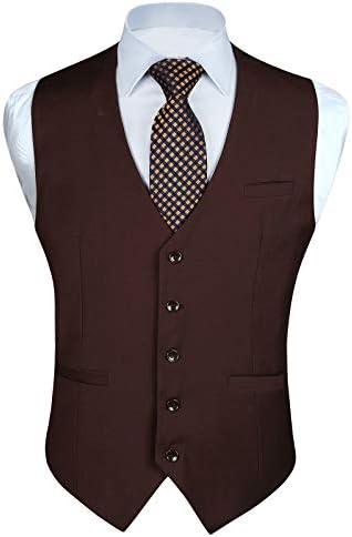 [スポンサー プロダクト](ヒスデン) HISDERN スーツベスト メンズ フォーマル 結婚式 ベスト 光沢 スーツ仕立て Vネック 2ポケット 5ボダン スリム フィット 紳士 尾錠付き