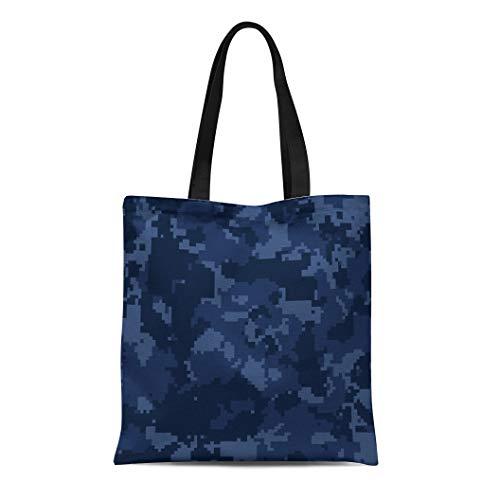 Semtomn Cotton Canvas Tote Bag Blue Camo Navy Digital Pixelated Camouflage Printseamless Pattern Reusable Shoulder Grocery Shopping Bags Handbag Printed