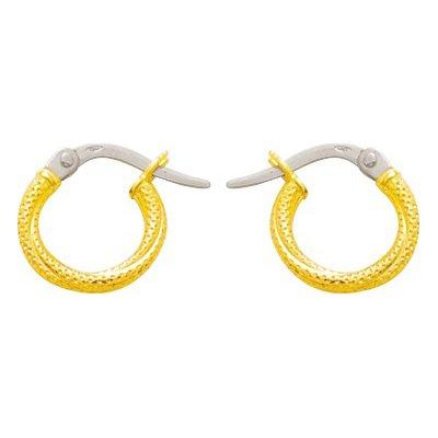 So Chic Bijoux © Boucles d'oreilles Femme Créoles Torsades Légères & Motifs Peau Serpent Diamètre 8 mm Fil 2 mm Or Jaune 750/000 (18 carats)