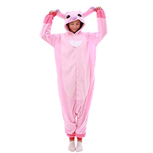 Unisex-Adult Onesie Pajamas Stitch Animal Sleepwear Halloween Party Costumes,Daily Cartoon Outfit(Pink,S) -