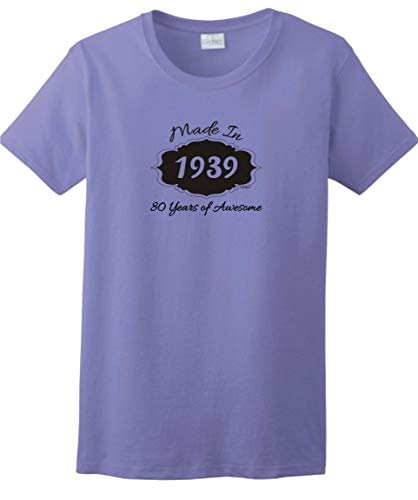 80th Birthday Gifts for Mom 80th Birthday Gifts Made 1939 80 Years of Awesome Ladies T-Shirt Medium -