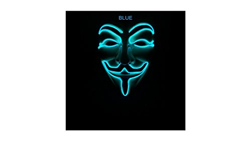SALE! Wireless L.E.D. Glowing Vendetta Mask (Blue) Guy Fawkes Vendetta HALLOWEEN (Guy Fawkes Masks For Sale)