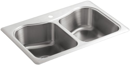 KOHLER K-3369-1-NA Staccato Double-Basin Self-Rimming Kitchen Sink, Stainless Steel (Bowl Rimming Kohler Double Self)