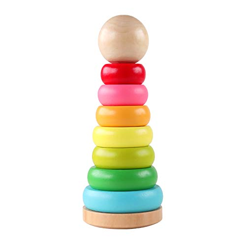 Wooden Toy Rings - GEMEM Wooden Ring Rainbow Stacker Toddler Toys Stacking Rings Learning Toys for 1, 2 Year Old Baby