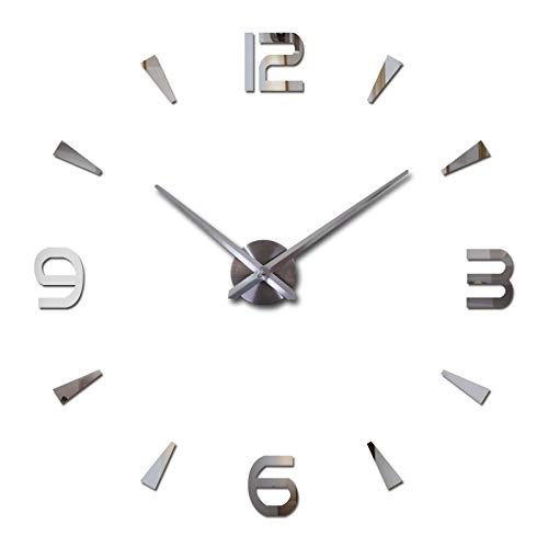 Amazon.com: Batop 2018 New Wall Clock Quartz Watch - Modern Design Large Decorative Clocks - Europe Acrylic Stickers Living Room Clock (Silver) (47inch): ...