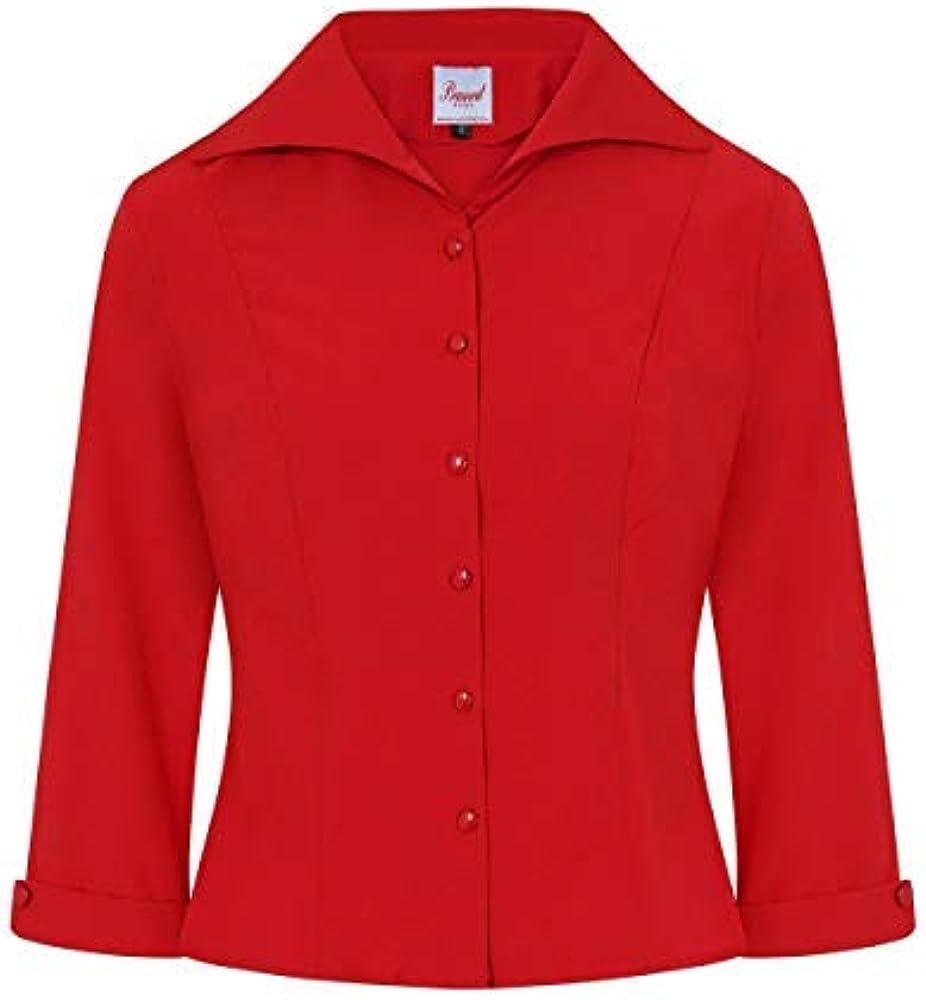 Banned Apparel Janine Vintage Retro Formal Mujer Camisa Blusa - Burdeos, XS: Amazon.es: Ropa y accesorios