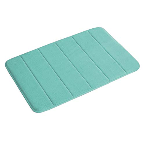 Flamingo P 17″X24″ Microfiber Memory Foam Bath Mat with Anti-Skid Bottom Non-Slip Quickly Drying Green Striped Pattern