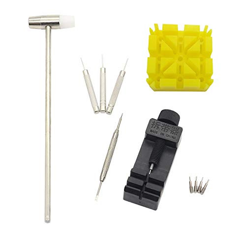 Magic&Shell Watch Band Link Pin Remover Professional Watchmaker Tools Watch Chain Adjust Repair Tool Kit - Holder, Remover, Hammer, Spring Bar Tool, Punch