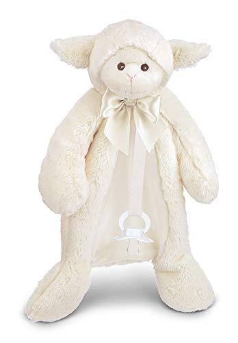Bearington Baby Lamby Pacifier Pet, White Lamb Plush Stuffed Animal Lovie and Paci Holder, 15