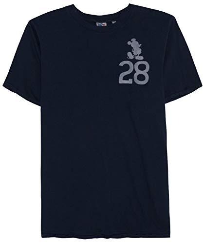 Junk Food Men's Mickey Mouse 28 Short Sleeve T-Shirt - (Navy Blue, Small)