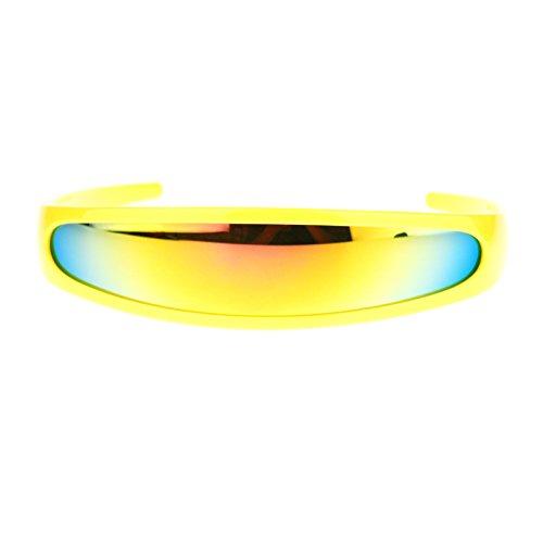 mirrored Color Mirror Lens Monolens Cyclops Robotic Futuristic Sunglasses - Sunglasses Lense Single