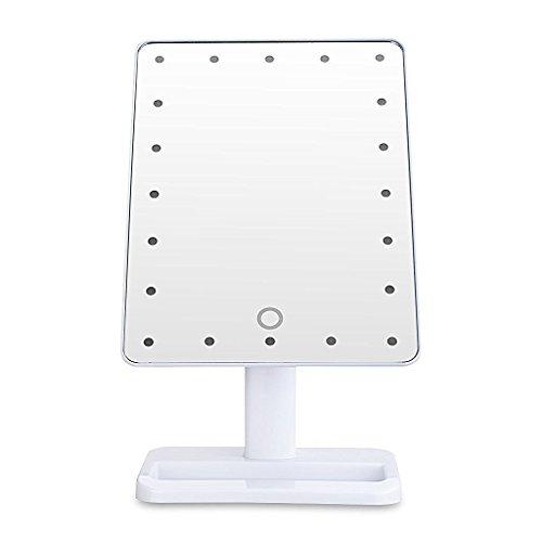 LED Kosmetikspiegel, MIRI 180 Grad freie Rotation Batteriebetrieben Schminkspiegel, Makeup Spiegel Tischspiegel Standspiegel mit Licht - Weiß