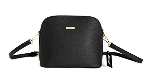 Womens PU Leather Handbags, Nuur Shoulder Crossbody Bag with Adjustable Strap and Two Extra Flaps (Crossbody Bag-01, Z -Black)