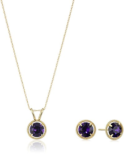 10K Gold Dainty Swarovski Crystal Birthstone Pendant Necklace with Stud Earrings Set, (Gold Filled Chain Earrings)