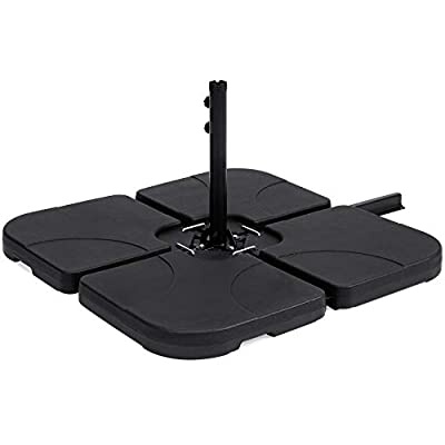 Best Choice Products 4-Piece Heavy-Duty Cantilever Offset Patio Umbrella Stand Square Base Plate Set w/Easy-Fill Spouts for Water or Sand, Black