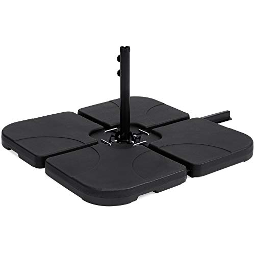 Best Choice Products 4-Piece Cantilever Offset Patio Umbrella Stand Square Base Plate Set w/Easy-Fill Spouts - Black