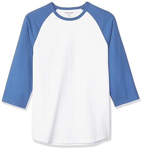 (Amazon Essentials Men's Regular-Fit 3/4 Sleeve Baseball T-Shirt, Blue/White,)