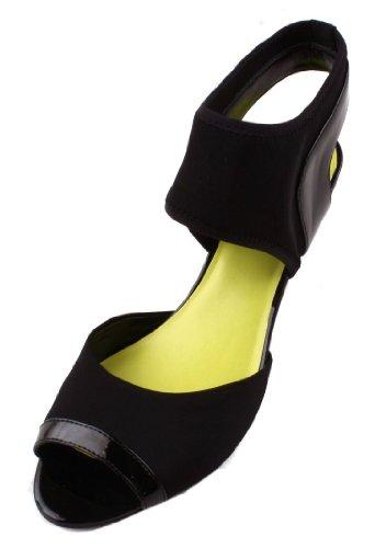 Nine West Wahoo Womens Size 6.5 Black Textile Dress Sandals Shoes