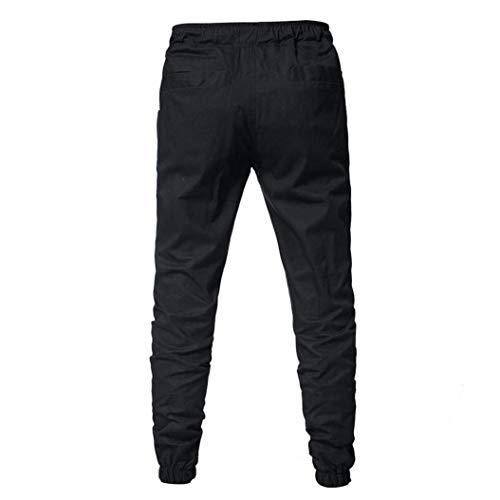 Nero Uomo Jeans Qk Ragazzo Da Alta In lannister Tinta A Casual Unita Sportivi Lunghi Allenamento Pantaloni Vita Caq4pawF