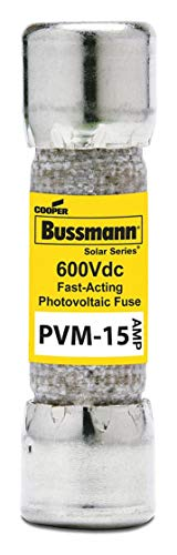 15A Fast Acting Cylindrical Photovoltaic Fuse with 600VDC Voltage Rating; PVM -