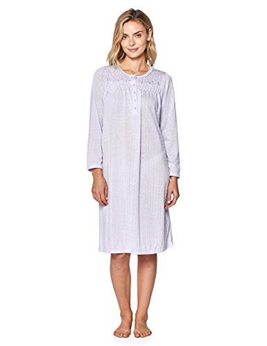 Casual Nights Women's Pointelle Pintucked Long Sleeve Nightgown - Purple - XX-Large (Pintucked Nightgown)
