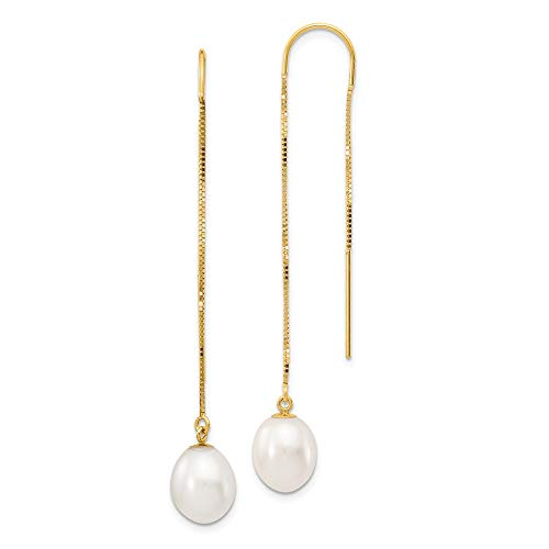 14k Yellow Gold 8mm White Rice Freshwater Cultured Pearl Link Box Chain Tassel String Threader Earrings Drop Dangle Fine Jewelry Gifts For Women For Her Cultured Freshwater Rice Pearl Drop