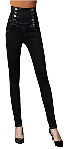 Allonly Women's Black Fashion Skinny Fit Stretch High Waisted Double-Breasted Tummy Control Jeans Pencil Pants Plus Size