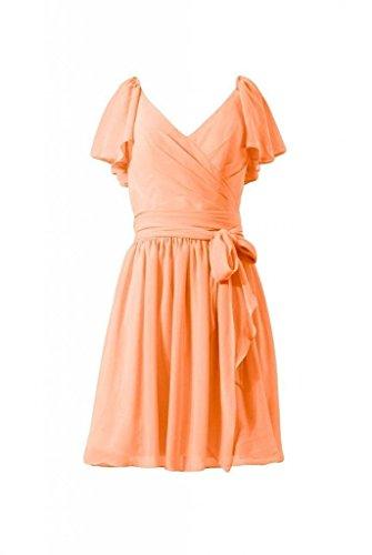 Daisyformals Courte Robe De Soirée Cru Robe De Demoiselle D'honneur En Mousseline De Soie Modeste (bm1662) N ° 22 Orange