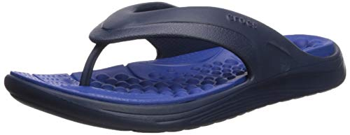 Blue Croc Leather - Crocs Reviva Flip Flop, Navy/Blue Jean, 12 US Men/ 14 US Women M US