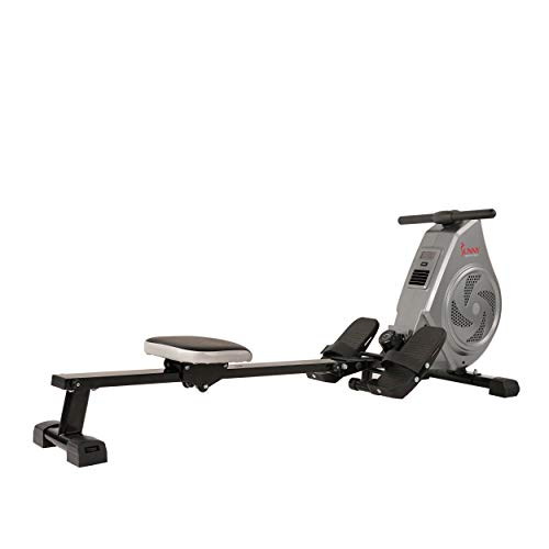 Sunny Health & Fitness Air Magnetic Rowing Machine Rower, LCD Monitor with Tablet Holder - SF-RW5728
