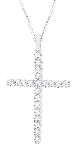 0.30 Carat (Cttw) 14K Solid White Gold Round Diamond Ladies Cross Pendant 1/3 CT (Silver Chain Include) ()