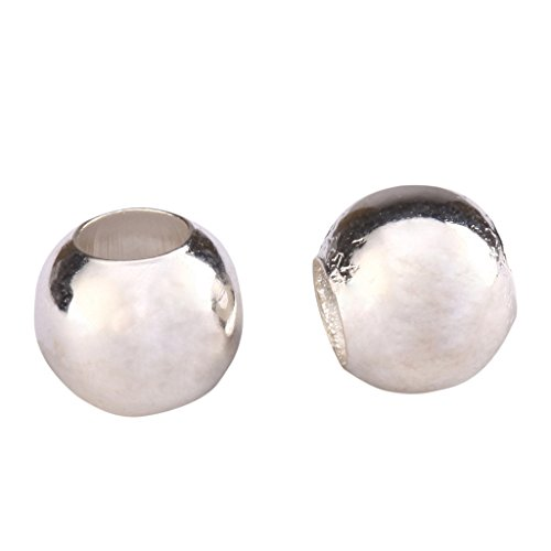 50pcs x 4mm Sterling Silver Seamless Smooth Spacer Beads (Large Hole ~1.5mm Hole) #ss199