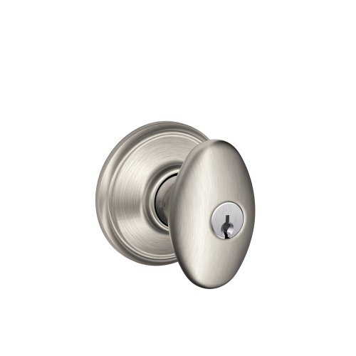 (Schlage F51A SIE 619 Siena Knob Keyed Entry Lock, Satin Nickel)