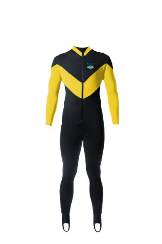 Aeroskin Full Body Suit Spine/Kidney with Kevlar Knee Pads (Black/Yellow, X-Large)