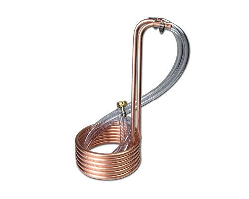 Coldbreak Brewing Equipment CB13812COV Wort Chiller with Vinyl Tubing and Garden Hose Fitting, 12.5', 3/8' Compact Immersion, 0.32' ID, 0.375' OD, GHT Female, Copper