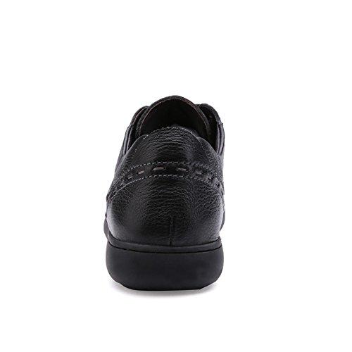 Prossebull Mens Casual Fashion Leather Shoe (EUR 43, Black) Black