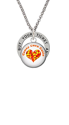 Domed Candy Corn Cutie - Buy Your Ticket Affirmation Ring Necklace