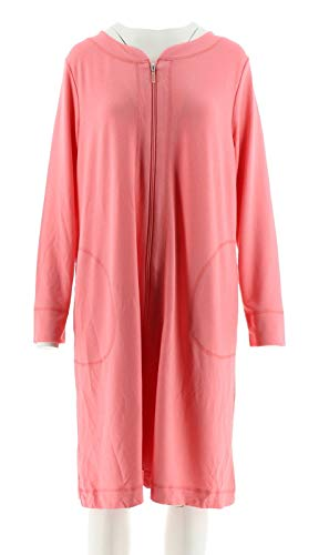 Carole Terry - Carole Hochman French Terry Zip Up Robe Coral L New A302155