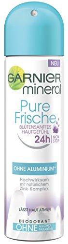 Garnier Mineral Pure Frische Deo Blütensanftes Hautgefühl / Deospray 24h Non-Stop hochwirksamer Deo-Schutz (ohne Aluminium, ohne Alkohol, ohne Parabene) 6er Pack - 6x150ml