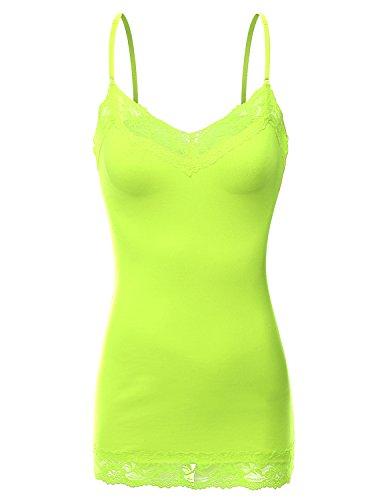 Doublju Women Gym Wear Comfy Fit Vintage Whisper Tank Tri-Eagle NEONYELLOW T-shirt,2XL