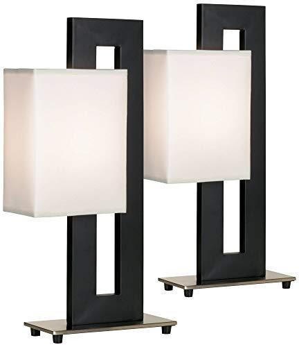 Floating Square Modern Accent Table Lamps Set of 2 Black Base White Rectangular Shade for Living Room Family Bedroom - 360 Lighting