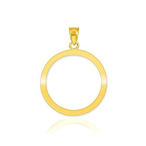 14k Gold Circle Pendant - 14k Yellow Gold Circle of Life Charm Karma Pendant