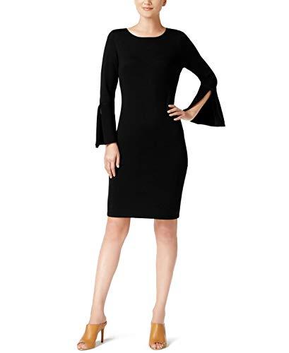 - Calvin Klein Womens Bell-Sleeve Ribbon-Trim Sweater Dress Black, L