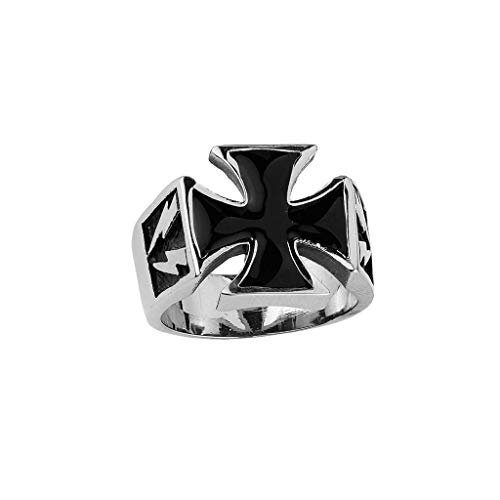 1800skull Stainless Steel Iron Cross Ring (Available in Sizes 10 to 14) Size 10