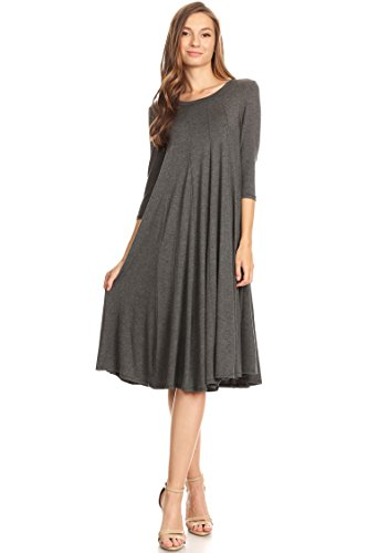 Casual Solid 3/4 Sleeve A-line Midi Dress/Made in USA (S-3XL) H. Charcoal...