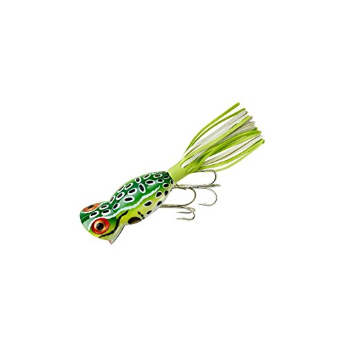 - Arbogast Hula Popper Fishing Lure-2 in-Leopard Frog - Chartreuse/White Skirt