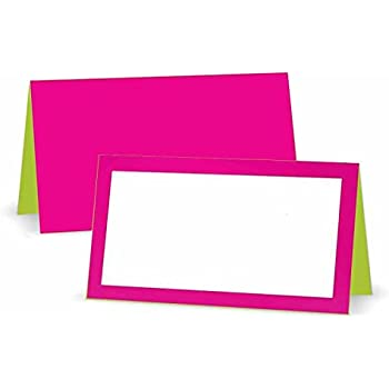 Fuchsia And Lime Place Cards Tent Style White Blank