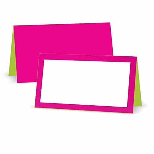 Fuchsia and Lime Place Cards - Tent Style - White Blank Front with Border - Placement Table Name Seating Stationery Party Supplies - Any Occasion or Event - Dinner Food Display - Product Tag Label Set
