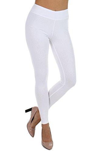 - Shinabro Cotton Spandex Angel Soft Yoga Waist Leggings for Women - Full Length (White, Large)