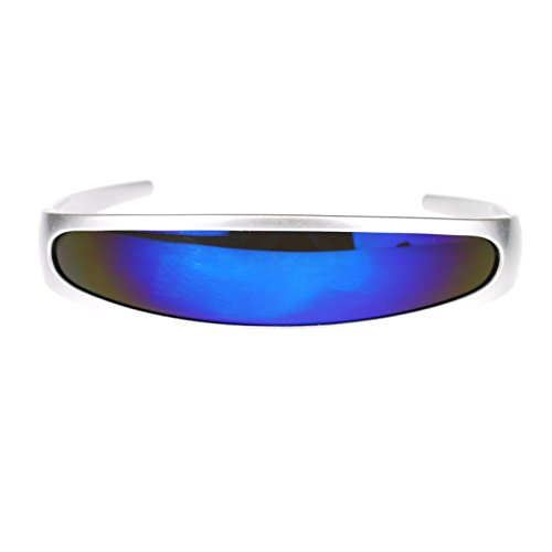 Mirrored Color Mirror Lens Monolens Cyclops Robotic Futuristic Sunglasses Silver Blue -